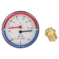"Thermo-manomètre, 0-2,5/4 bar, 0-120°C, 80 mm, radial, ½"""